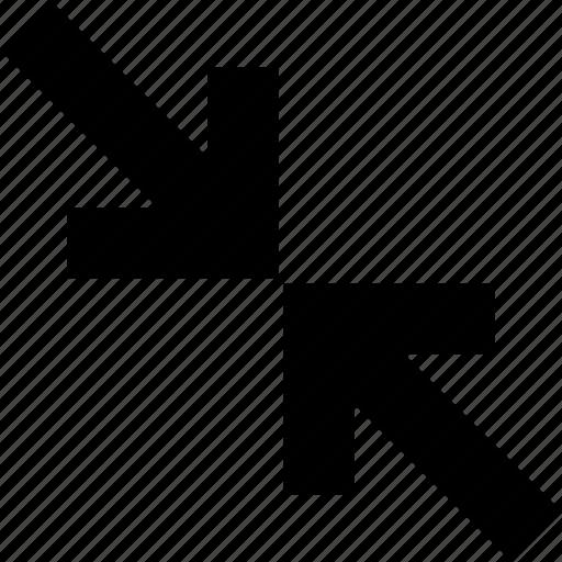 action, arrows, diagonal, move, reduce, ui icon