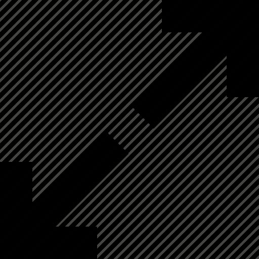 arrows, diagonal, drag, enlarge, move, reduce icon