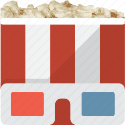 3d, food, movie, popcorn, stereoscopic icon