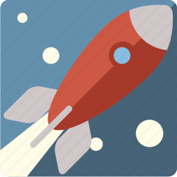 rocket, space, square, squared, stars icon