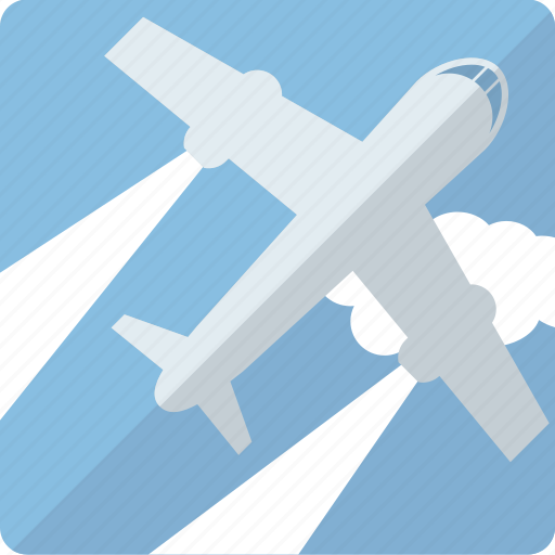 air, airplane, cloud, plane, transport, transportation, travel icon