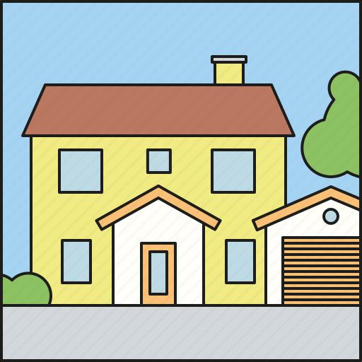 architecture, facade, home, house, residential, suburban icon