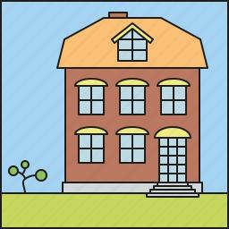 architecture, facade, home, house, residential, suburban, villa icon