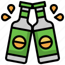 beer, bottle, alcohol, toast, bar