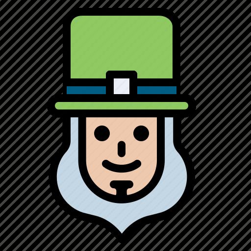 beard, leprechaun, luck, man, patrick, shamrock icon