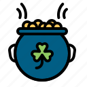 fortune, gold, luck, metal, money, pot, shamrock icon
