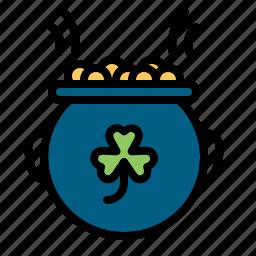 fortune, gold, luck, metal, money, pot, shamrock icon