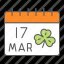 saint, patrick, day, calendar, holiday, march, clover