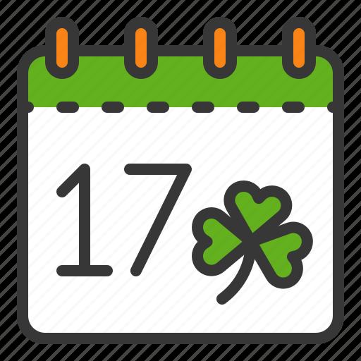 calendar, ireland, irish, patrick, saint patrick, saint patrick day icon