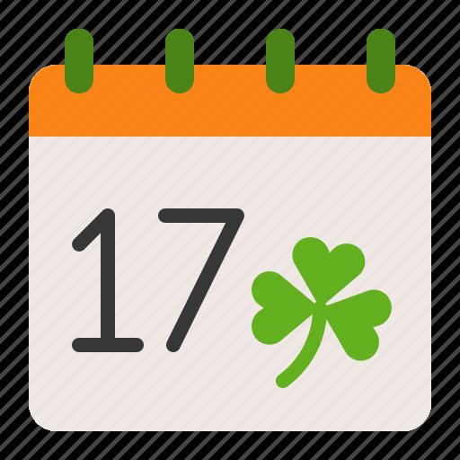 calendar, ireland, irish, patrick, saint patrick icon