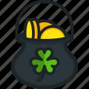 gold, pot, clover, money, leprechaun