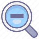 magnifier, magnifying glass, zoom out icon