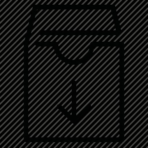 arrow, box, data, download, file icon