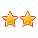 hotel, mark, rank, restaurant, stars, two icon