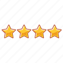 four, four star hotel, hotel, mark, rank, star, stars icon