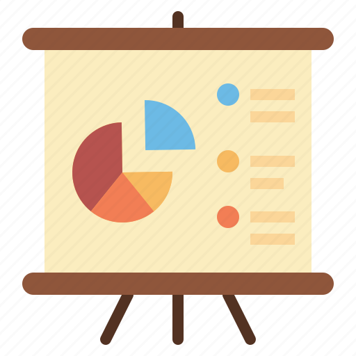 business, chart, finance, pie, whiteboard icon