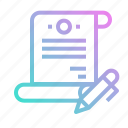 agreement, contract, document, files, pen icon