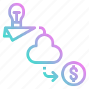 cloud, corporation, crowdfunding, investment, money icon