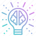 brain, bulb, echnology, idea, light icon