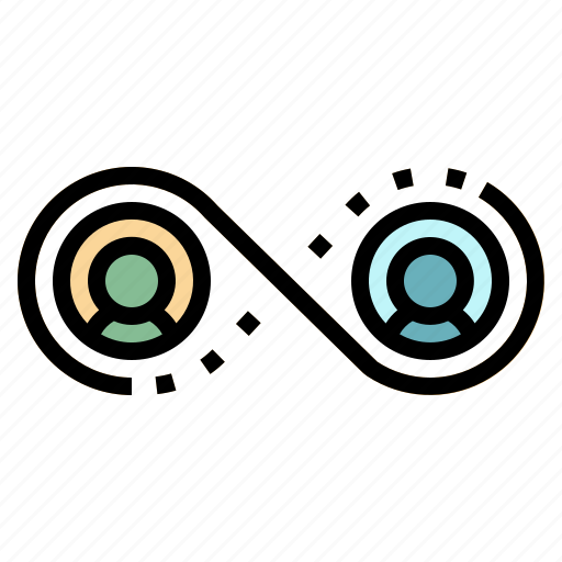 connection, infinity, link, network, team icon