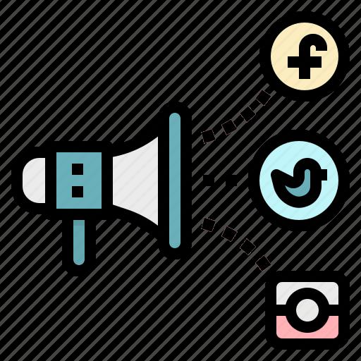 advertisement, media, megaphone, promotion, social icon