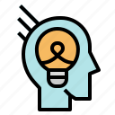 bulb, idea, invention, light, thinking icon