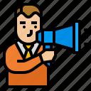 advertising, avatar, marketing, megaphone, strategy icon