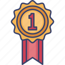 achievement, award, first, medal, reward, ribbon, winner