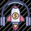 headphone, headset, launch, money, rocket, start, up icon