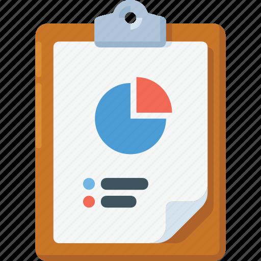 clipboard, data, pie chart, report icon