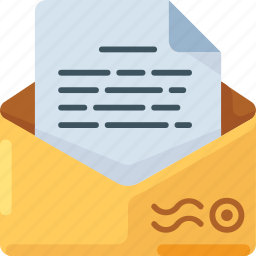 address, document, envelope, letter, mail, text icon