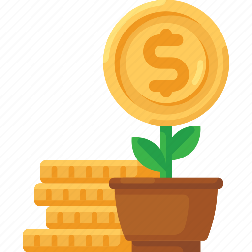 business, coins, finance, growth, money, plant icon