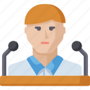 conference, man, speaker, speech, teacher icon