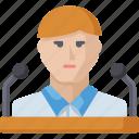 conference, speaker, speech, teacher, man