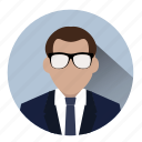 avatar, business, businessman, entrepreneur, manager, profile, suit icon