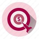 business, buy, cash, dollars, money time, target, target money icon