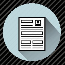 cv, document, file, files, paper, resume, sheet icon