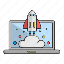 achievement, goal, laptop, launch, start, up, work icon
