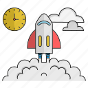 achievement, deadline, goals, launch, start, time, up icon