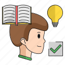 book, idea, man, read, smart, start, up icon