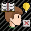 book, idea, man, read, smart, start, up icon