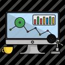 chart, coffee, computer, design, setup, start, up icon