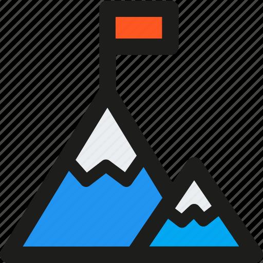 flag, goal, mission, mountain, startup, target icon