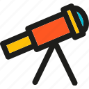 education, experiment, science, telescope, test, view icon