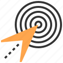 innovation, investment, management, opportunity, startup, strategy, target icon