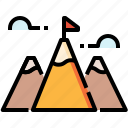 achievement, business, flag, goal, mountains, success icon