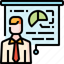 business, financial, man, presentation, statistics icon