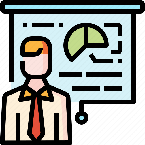 business, financial, man, presentation, statistics icon