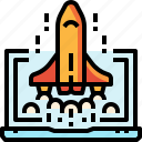 business, laptop, launch, rocket, ship, space, startup icon