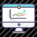 computer, graph, statistics icon